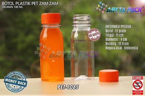 Botol plastik PET 100ml zam-zam tutup segel orange