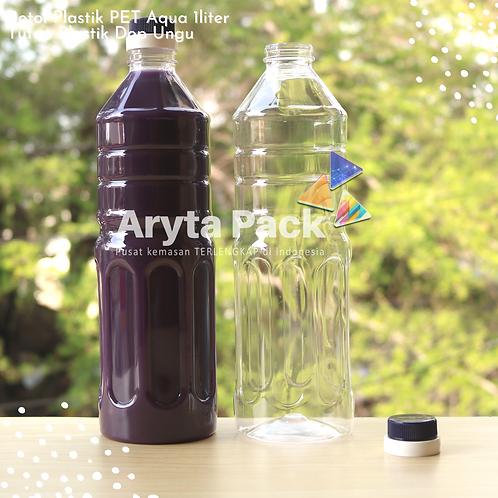 Botol plastik pet 1liter aqua tutup dop segel biru tua