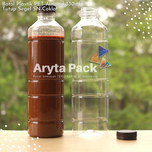 Botol plastik minuman 330ml almond tutup segel coklat