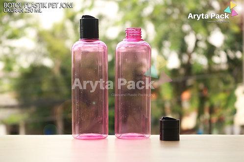 Botol plastik PET Joni 250ml pink tutup press on hitam