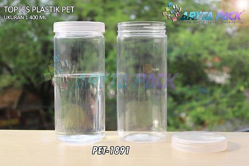 Toples plastik pet 1.4liter tutup ulir natural