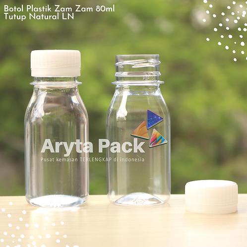 Botol plastik PET 80ml zam-zam tps tutup segel natural