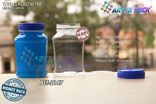 Toples plastik PET 300ml TKP-3 tutup biru