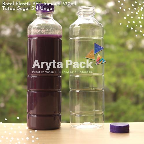 Botol plastik minuman 330ml almond tutup segel ungu