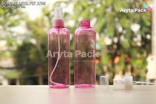 Botol plastik PET 250ml joni pink tutup spray natural