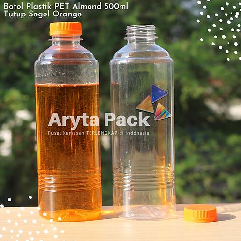 Botol plastik minuman 500ml almond tutup segel orange