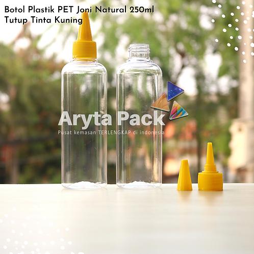Botol plastik PET 250ml Joni tutup tinta kuning