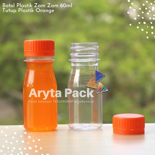 Botol plastik PET 60ml zam-zam tutup segel orange