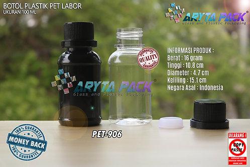 Botol plastik PET 100ml labor tutup segel hitam