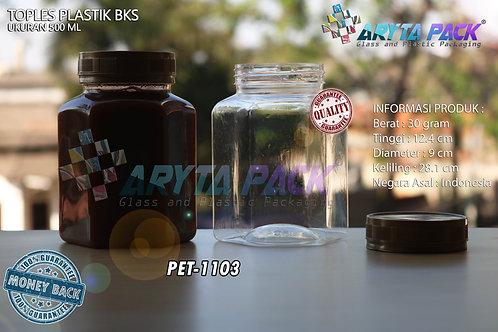 Toples plastik PET 500ml BKS tutup gold