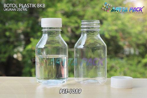 Botol plastik minuman 250ml BKB tutup segel natural