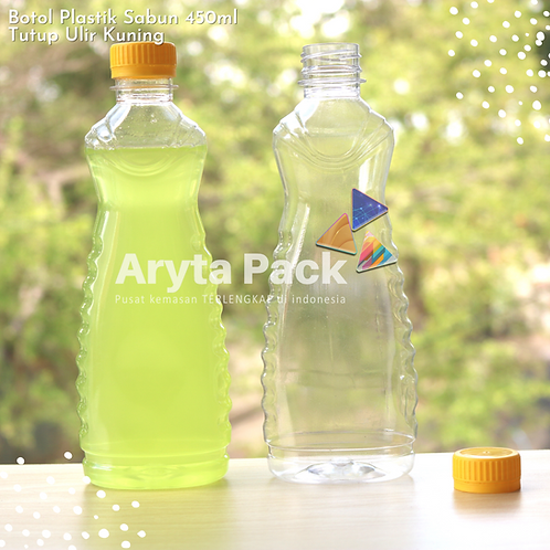 Botol plastik minuman 450ml sabun cair tutup ulir kuning
