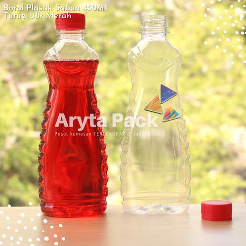Botol plastik minuman 450ml sabun cair tutup ulir merah