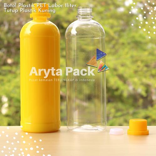 Botol plastik PET 1 Liter labor tutup segel kuning