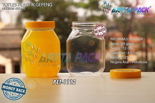 Toples plastik PET 450ml gepeng tutup kuning