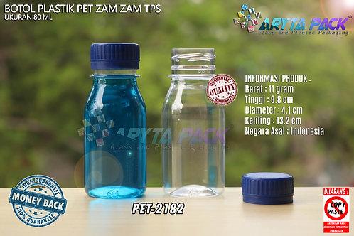 Botol plastik PET 80ml zam-zam tps tutup segel biru
