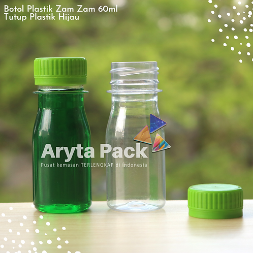 Botol plastik PET 60ml zam-zam tutup segel hijau