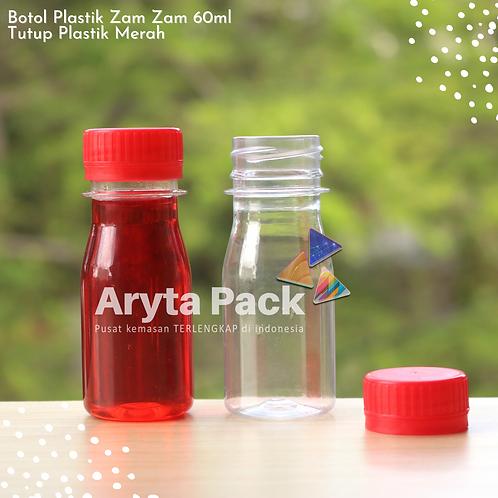 Botol plastik PET 60ml zam-zam tutup segel merah