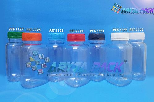 Botol plastik minuman 250ml segitiga tutup segel biru