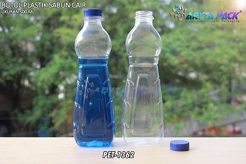 Botol plastik minuman 500ml sabun cair tutup ulir biru