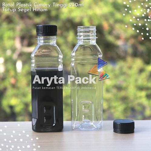 Botol plastik minuman 250ml cimory tinggi tutup segel hitam