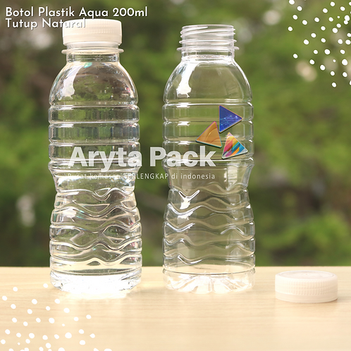 Botol plastik pet 200ml aqua tutup segel natural