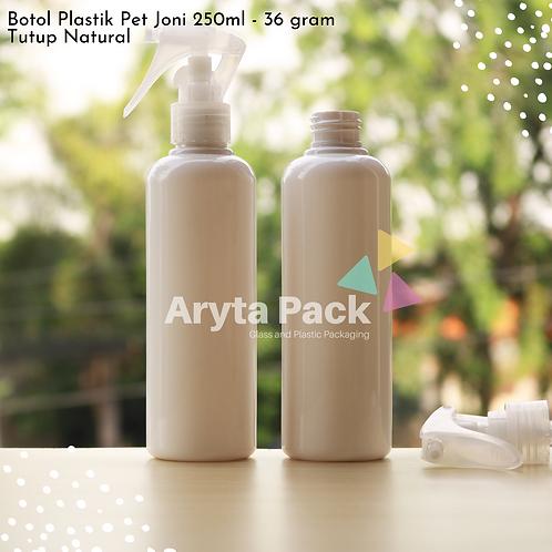 Botol plastik PET 250ml Joni putih susu tutup spray pistol natural