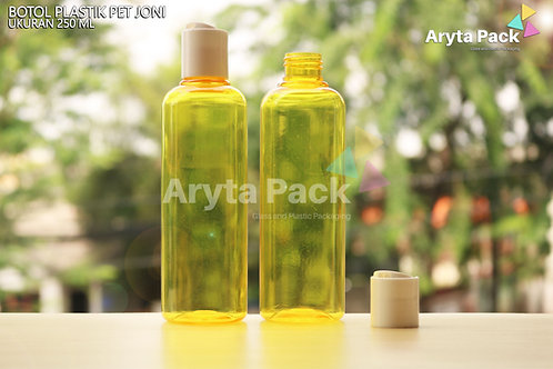 Botol plastik PET Joni 250ml kuning tutup press on putih susu