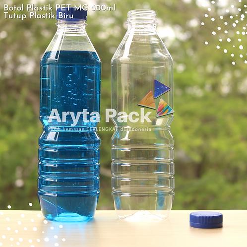 Botol plastik minuman 500ml mg tutup segel biru