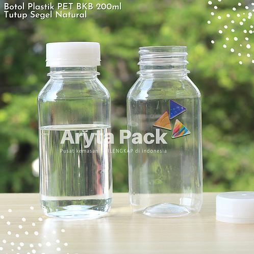 Botol plastik minuman 200ml bkb tutup segel natural