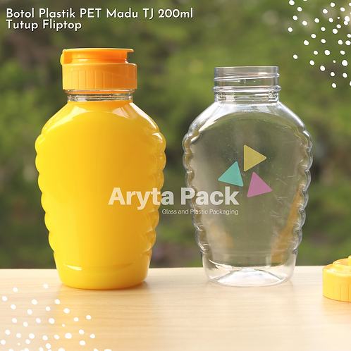 Botol plastik PET 200ml madu TJ tutup fliptop