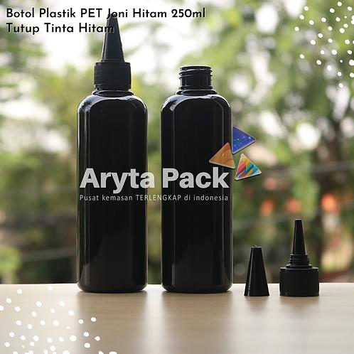 Botol plastik PET 250ml Joni hitam tutup tinta hitam