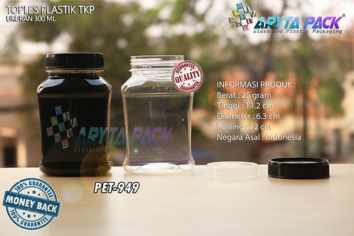 Toples plastik PET 300ml TKP-3 tutup hitam