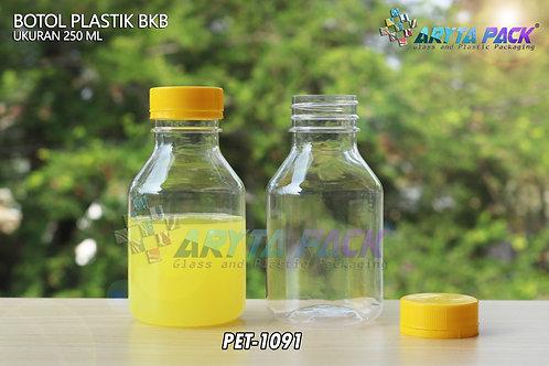 Botol plastik minuman 250ml BKB tutup segel kuning
