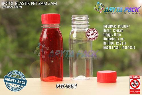 Botol plastik PET 100ml zam-zam tutup segel merah