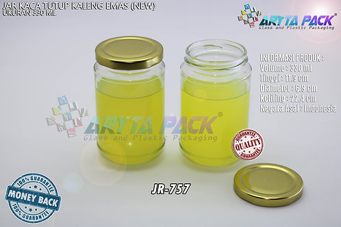 Jar kaca 330ml tutup kaleng emas new