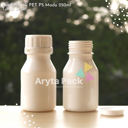 Botol plastik PET 250ml PS putih susu tutup segel