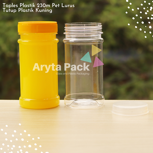 Toples plastik PET 230ml lurus tutup kuning