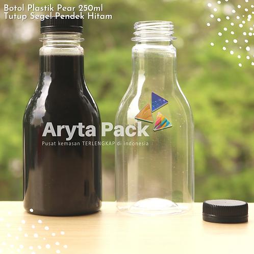 Botol plastik minuman 250ml pear tutup segel pendek hitam