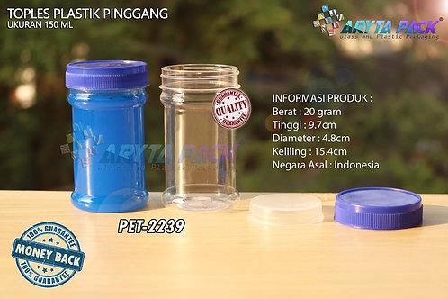 Toples plastik PET 150ml pinggang tutup biru