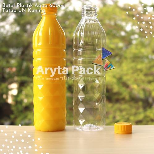 Botol plastik pet 600ml aqua tutup segel kuning