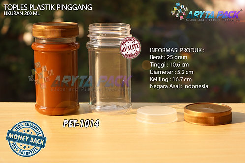 Toples plastik PET 200ml pinggang tutup gold