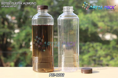 Botol plastik minuman 500ml almond tutup segel coklat