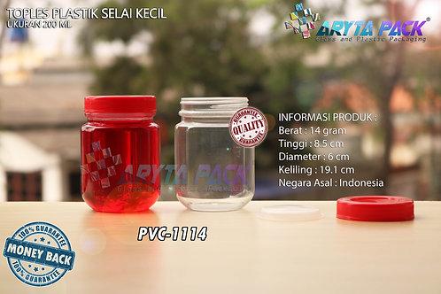 Toples plastik PVC 200ml selai kecil bulat tutup merah