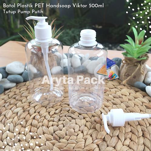 Botol plastik PET handshoap viktor 500ml tutup pump putih susu