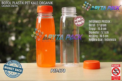 Botol plastik minuman 250ml jus organik tutup orange segel