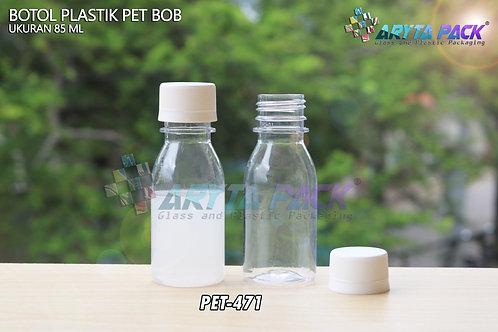 Botol plastik minuman 85ml BOB bening tutup segel