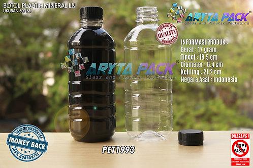 Botol plastik pet 500ml aqua tutup segel hitam