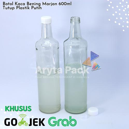 Botol kaca bening 600ml marjan second tutup plastik