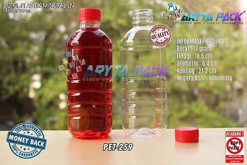 Botol plastik pet 500ml aqua tutup segel merah